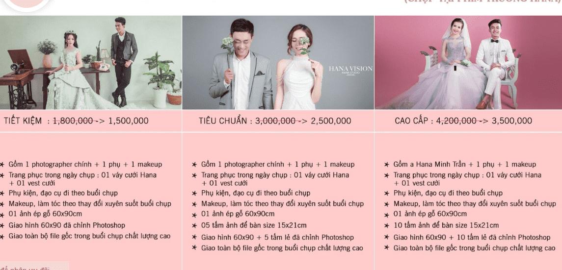 Bảng giá chụp ảnh cưới của Monstudio